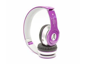 A1-Tech Wireless Bluetooth Stereo Headset with Mic and FM Radio - Purple For iPhone 5 iPhone 6 iPad Galaxy S5 S4 Note 2 3