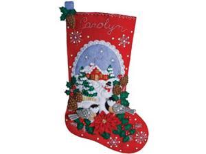 "Chickadees Stocking Felt Applique Kit-18"" Long"