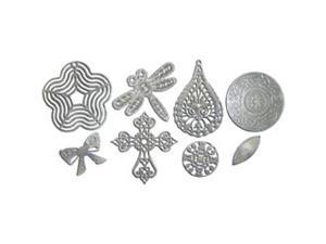 Boxed Filigree Embellishment Assortment 80 Pieces-Old Silver 4 (8 Designs/10 Each)