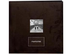 "Embroidered Patch Faux Suede Frame Postbound Album 12""X12""-Dark Brown"