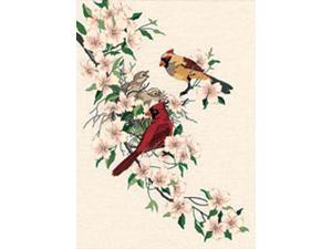 "Cardinals In Dogwood Crewel Kit-11""X15"" Stitched In Wool & Thread"