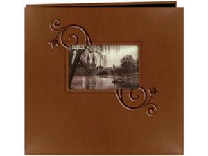 "Embossed Leatherette Postbound Album With Window 12""X12""-Brown With Floral"