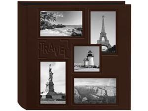 "5-Up Collage Frame Sewn Embossed Photo Album 12""X12""-Brown"