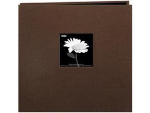 """Book Cloth Cover Postbound Album With Window 8""""X8""""-Brown"""