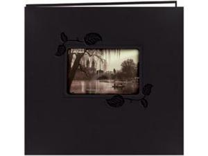 """Embossed Leatherette Postbound Album With Window 12""""X12""""-Black With Ivy"""