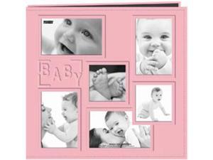 "Collage Frame Sewn Embossed Cover Postbound Album 12""X12""-Pink/Baby"