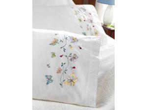 "Stamped Embroidery Pillowcase Pair 20""X30""-Butterflies In Flight"