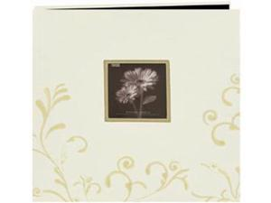 "Scroll Embroidery Fabric Postbound Album With Window 12""X12""-Ivory"