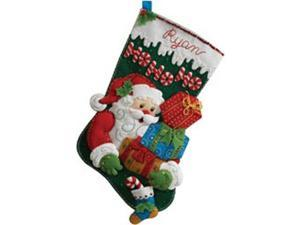 "Ho Ho Ho Santa Stocking Felt Applique Kit-18"" Long"