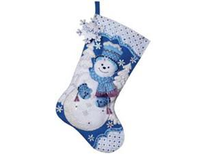 "Snowflake Snowman Stocking Felt Applique Kit-18"" Long"