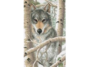 "Wintry Wolf Stamped Cross Stitch Kit-9""X14"""