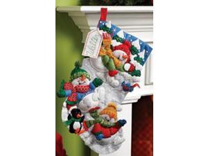 "Snow Fun Stocking Felt Applique Kit-18"" Long"