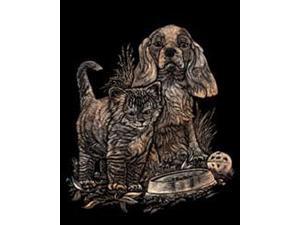 "Copper Foil Engraving Art Kit 8""X10""-Kitten & Puppy"