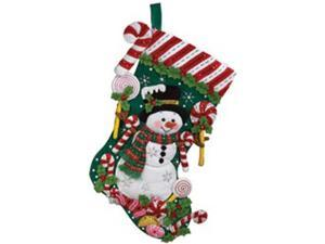 "Candy Snowman Stocking Felt Applique Kit-18"" Long"