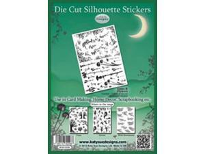 "Die Cut Silhouette Stickers 8""X12"" Sheet-Vines & Flowers"