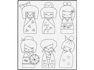 Sublime Stitching Embroidery Patterns-Kokeshi Dolls