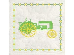 "Stamped Quilt Blocks 18""X18"" 6/Pkg-Green Tractor"
