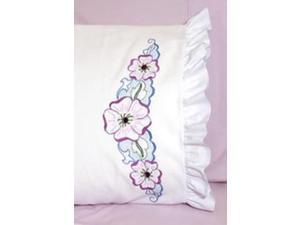 """Stamped Lace Edge Pillowcase 30""""X20"""" 2/Pkg-Large Flower"""