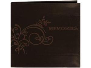 "Embroidered Scroll Leatherette Postbound Album 12""X12""-Brown"