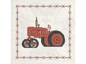 "Stamped Quilt Blocks 18""X18"" 6/Pkg-Red Tractor"