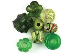 Glass Beads Mix Pack Biggies 65 Grams/Pkg-Green
