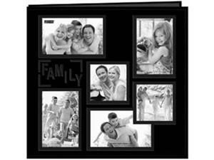 "Collage Frame Sewn Embossed Cover Postbound Album 12""X12""-Black/Family"