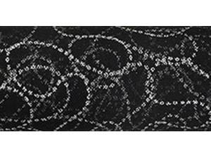 "Tulle Glitter Curves 6"" Wide 10 Yards Buy-The-Spool-Black W/Silver"