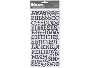 "Thickers Chipboard Glitter Alphabet Stickers 6""X11"" Sheet-Sunrise-Silver"