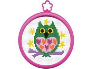 "My 1st Stitch Owl Mini Counted Cross Stitch Kit-3"" Round 14 Count"