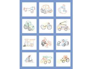 "Stamped Baby Quilt Blocks 18""X18"" 6/Pkg-Toy Vehicle"