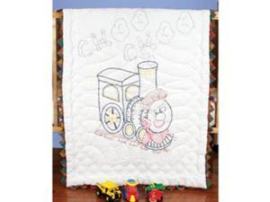 "Stamped Baby Quilt Top 36""X50""-Train"