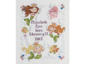 """Mermaid Bay Birth Record Counted Cross Stitch Kit-10""""X13"""" 14 Count"""