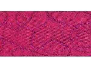 "Tulle Glitter Curves 6"" Wide 10 Yards Buy-The-Spool-Fuchsia W/Fuchsia Glitter"