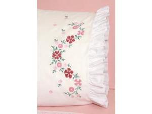 "Stamped Lace Edge Pillowcase 30""X20"" 2/Pkg-Cross Stitch Flower"