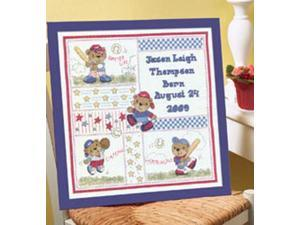 "Baseball Buddies Birth Record Counted Cross Stitch Kit-12-1/2""X13"" 14 Count"
