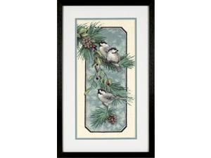 "Chickadees On A Branch Stamped Cross Stitch Kit-8""X16"""
