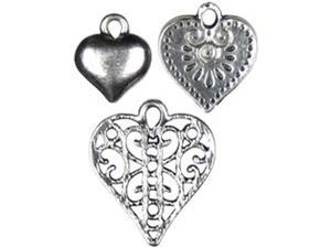Jewelry Basics Metal Charms-Silver Heart 10/Pkg