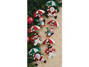 "Dropping In Ornaments Felt Applique Kit-4-1/2""X5"" Set Of 6"