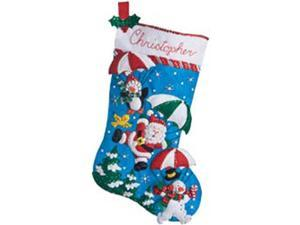 "Dropping In Stocking Felt Applique Kit-18"" Long"