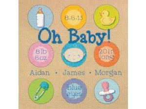 "Baby Dots Birth Record Counted Cross Stitch Kit-10""X10"" 14 Count"
