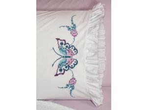 "Stamped Lace Edge Pillowcase 30""X20"" 2/Pkg-Large Butterfly"