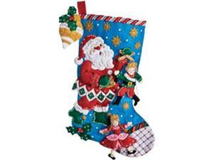 "Christmas Puppet Show Stocking Felt Applique Kit-18"" Long"