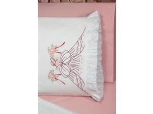 """Stamped Lace Edge Pillowcase 30""""X20"""" 2/Pkg-Bouquet Lady"""