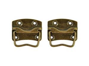 """Treasures Metal Case Handle With 1.25""""X.875"""" Backplate 2/Pkg-Antique Brass"""