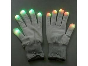 7 Mode LED Rave Light Finger Lighting Flashing Glow Gloves White