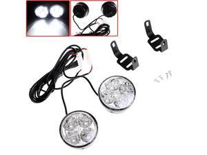 2pcs Universal White 4 LED Round Daytime Running Light DRL Car Fog Day Driving Lamp