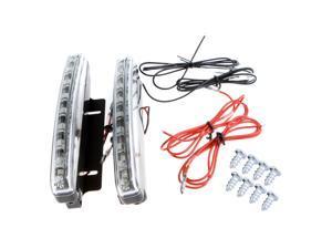 2X Super Bright White 8 LED DRL Car Daytime Running Light Head Lamp