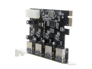 4-Port SuperSpeed USB 3.0 PCI-E PCI Express Card with 4-pin IDE Power Connector NEC uPD720201 for Desktops System Support ...