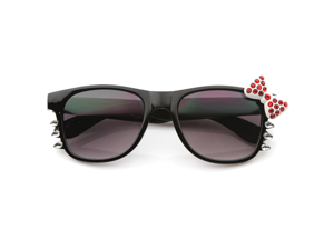 Womens Fashion Bling Hello Kitty Bow Whiskers Sunglasses with Rhinestones