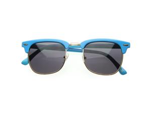 Retro Brow Multi-Color Half Frame Style Wayfer Sunglasses